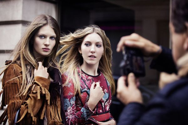 Florence Kosky and Ella Richards in the Burberry Autumn_Winter 2015 Campaign Behind The Scenes - on embargo until Tuesday 23 June 00_01am BST